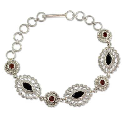 Ornate Silver Jali Bracelet with Faceted Onyx and Garnets