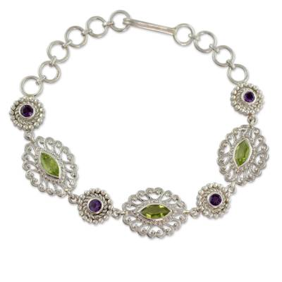 Silver Jali Bracelet with Faceted Peridot and Amethysts