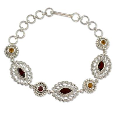 Ornate Silver Jali Bracelet with Faceted Garnets and Citrine