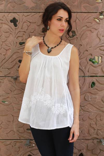 Cotton blouse, 'Floral Whisper' - Hand Embroidered Sleeveless White Cotton Smock Top