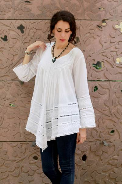 Cotton blouse, 'Amethi Princess' - White Hand Embroidered Long Cotton Smock