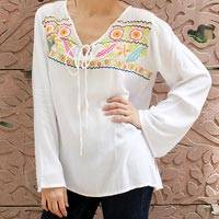 Embroidered blouse, 'Bright Bouquet' - Fair Trade Viscose Blouse with Multi colour Embroidered Yoke