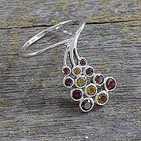 Garnet and citrine cocktail ring, 'Fascinator in Scarlet' - Unique Garnet and Citrine Sterling Silver Cocktail Ring