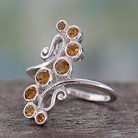 Citrine cocktail ring, 'Golden Tendrils' - Handcrafted Silver Statement Cocktail Ring with 8 Citrines