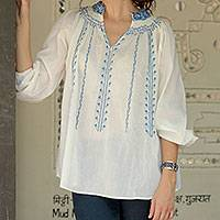 Cotton blouse, 'Indian Bluebells' - Feminine White Cotton Blouse with Blue Machine Embroidery