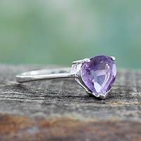Amethyst solitaire ring, 'Lovely Lilac' - Genuine 1.5 Carat Amethyst Solitaire Ring from India