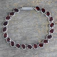 Garnet tennis bracelet, 'Scarlet Radiance'