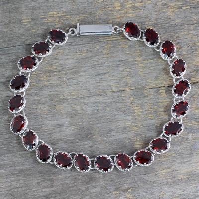 Garnet tennis bracelet, 'Scarlet Radiance' - Garnet 21 Carat Tennis Bracelet in Sterling Silver