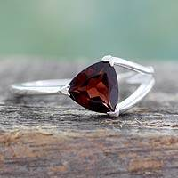 Garnet solitaire ring, 'Mystic Triangle'