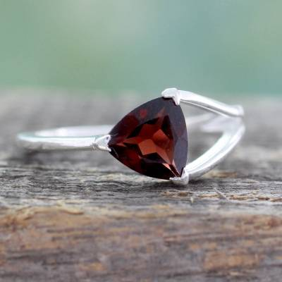 Garnet solitaire ring, 'Mystic Triangle' - Triangle-Cut Natural Garnet Solitaire Ring from India