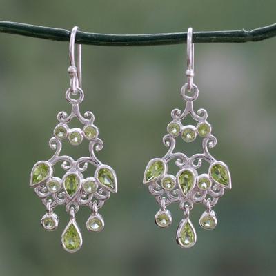 Peridot chandelier earrings, 'Spring Dance' - Handcrafted 7 Carat Peridot Chandelier Earrings