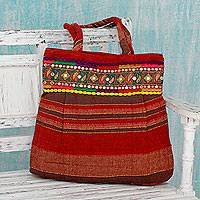 Cotton shoulder bag, 'Paisley Path' - Hand-Loomed Red Cotton Shoulder Bag with Sequins
