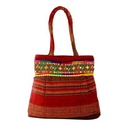Novica Cotton handbag, Forest Path