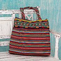 Cotton shoulder bag, 'Rainbow Dreams' - Fair Trade Large Rainbow Striped Cotton Shoulder Bag