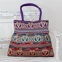 Shoulder bag, 'Festively Purple' - Paisley Motif Embellished Purple Shoulder Bag