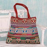 Shoulder bag, 'Festively Red' - Colorful Embroidered Shoulder Bag with Paisley Motifs