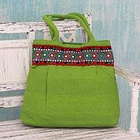 Cotton shoulder bag, 'Lime Delight' - Bright Lime Green Cotton Shoulder Bag from India