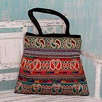 Shoulder bag, 'Festively Black' - Black and Multicolor Paisley Embroidered Shoulder Bag
