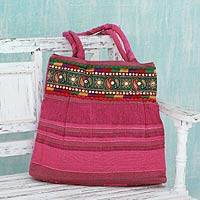 Cotton shoulder bag, 'Majestic Pink' - Pink Cotton Shoulder Bag with Multicolor Embroidery