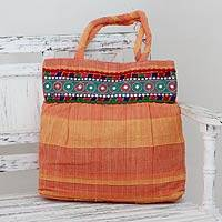 Cotton shoulder bag, 'Sunset Muse' - Indian Artisan Crafted Orange Cotton Shoulder Bag