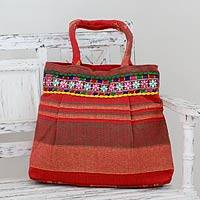 Cotton shoulder bag, 'Scarlet Dawn' - Red and Orange Striped Cotton Shoulder Bag from India