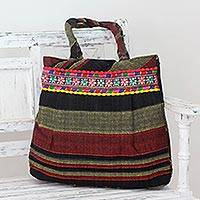 Cotton shoulder bag, 'Midnight Glow' - Hand-Loomed Cotton Shoulder Bag in Black, Red, and Yellow