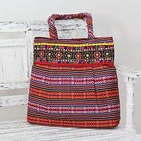 Cotton shoulder bag, 'Rainbow Charm' - Multicolored Hand-Loomed Cotton Shoulder Bag from India