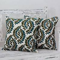 Embroidered cushion covers, 'Autumn Leaves' (pair) - Embroidered Ivory Cushion Covers with Green Leaves (pair)