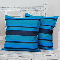Embroidered cushion covers, 'Blue Streams' (pair) - Artisan Crafted Blue Cushion Covers with Embroidery (pair)