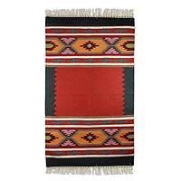 Wool dhurrie rug, 'Spring Feast' (3x5) - Vibrant Hand-Loomed Wool Dhurrie Area Rug (3x5)