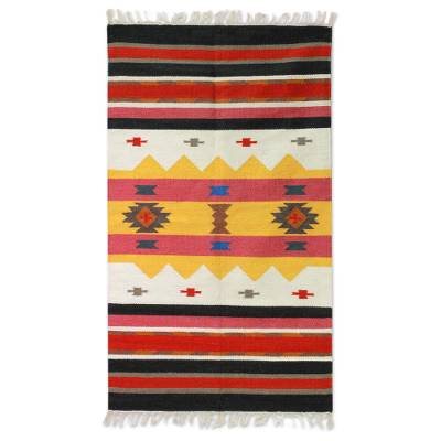 Wool dhurrie rug, 'Winter Feast' (3x5) - Unique Multicolor Wool Accent Rug Handmade in India (3x5)
