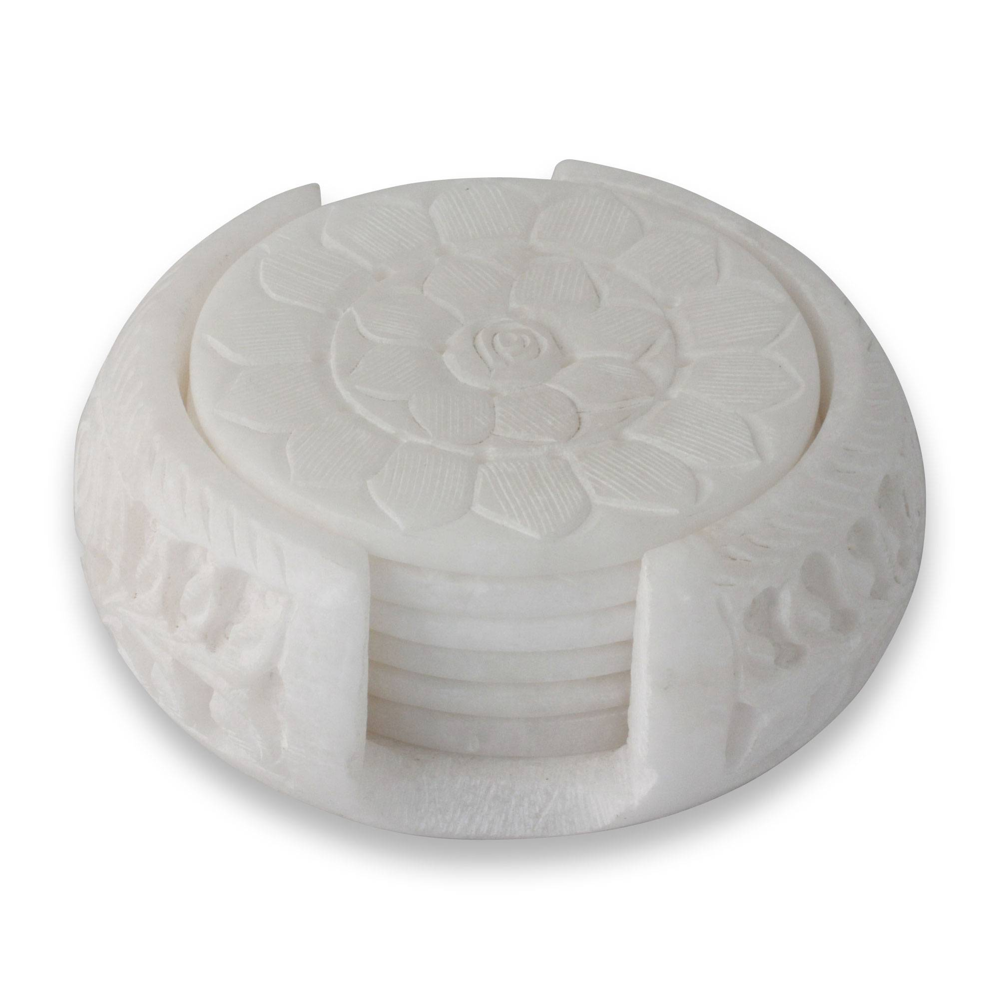 Peaceful Blossom Hand Carved White Marble Coasters And Holder Set Of 6