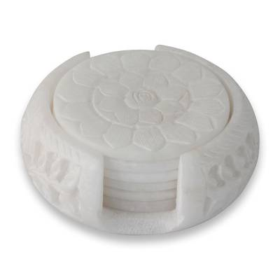 Marble coaster set, 'Peaceful Blossom' (set of 6) - Hand Carved White Marble Coasters and Holder (set of 6)