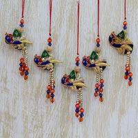 Beaded ornaments, 'Dancing Peacocks' (set of 5)