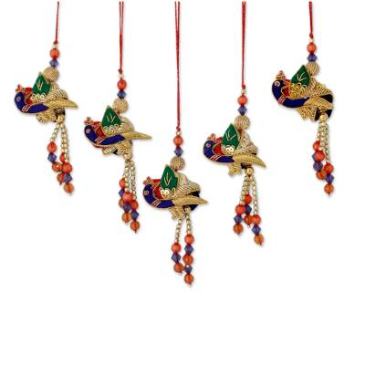 Beaded ornaments, 'Dancing Peacocks' (set of 5) - Embellished Fabric Peacock Christmas Ornaments (set of 5)