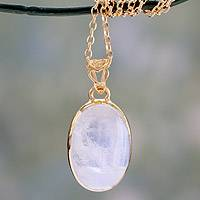 Gold vermeil rainbow moonstone pendant necklace, 'Misty Moonlight'