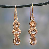 Gold plated citrine dangle earrings, 'Golden Dazzle' - 22k Gold Vermeil Dangle Earrings with Citrine Gems