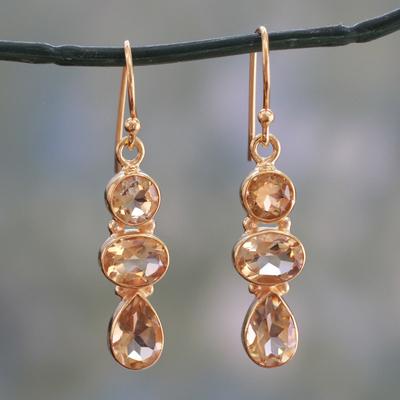Gold plated citrine dangle earrings, 'Golden Dazzle' - 22k Gold Vermeil Dangle Earrings with Citrine Gems