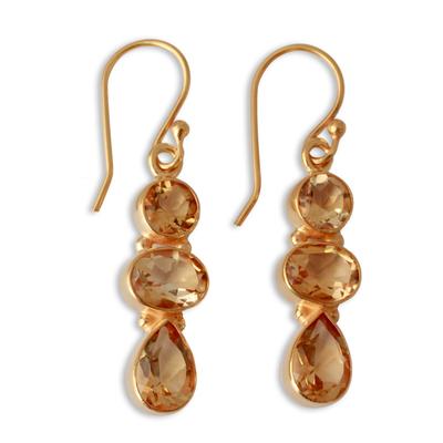 Gold plated citrine dangle earrings, 'Golden Dazzle' - 22k Gold Plated Dangle Earrings with Citrine Gems