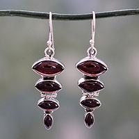 Garnet dangle earring, 'Romantic Quartet' - Garnet Cabochon Dangle Earrings Set in Sterling Silver