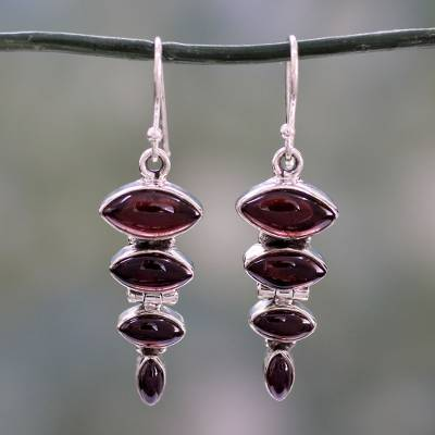 Garnet dangle earring, 'Romantic Quartet' - Garnet Cabochon Dangle Earrings Set in Sterling Silver