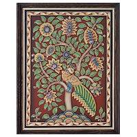 Marble dust relief panel, 'Peacock Dance' - Handpainted Marble Dust Relief Wall Panel with Peacocks