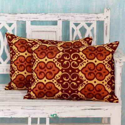 Embroidered cushion covers, 'Mustard Field' (pair) - Embroidered Yellow, Orange and Red Cushion Covers (pair)