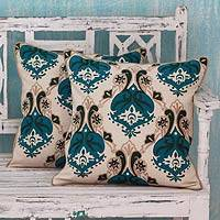 Embroidered cushion covers, 'Autumn Muse' (pair) - Cotton Cushion Covers with Appliqué and Embroidery (pair)
