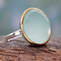 Gold accented chalcedony cocktail ring, 'Aquatic Allure' - Sterling Silver and 18k Gold Cocktail Ring with Chalcedony