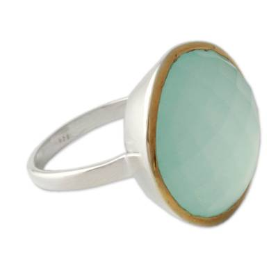 Novica Sterling Silver and Gold Chalcedony Cocktail Ring