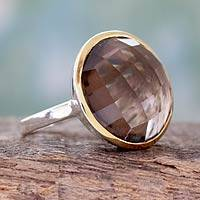 Gold accented smoky quartz cocktail ring, 'Dreamy Allure' - Smoky Quartz Cocktail Ring in Sterling with 18k Gold Accent