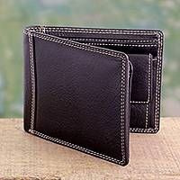 Men's leather wallet, 'Suave Brown' - Men's Brown Leather Wallet with Coin Purse and Multi Pockets