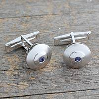 Iolite cufflinks, 'Serene Strength' - Contemporary Style Iolite and Sterling Silver Cufflinks