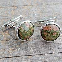 Unakite cufflinks, 'Forest Muse' - Men's Contemporary Sterling Silver Cufflinks with Unakite
